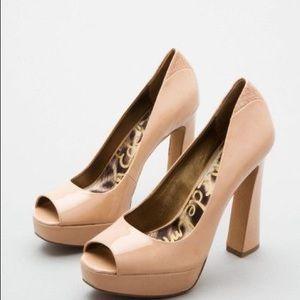 Sam Edelman Nude Patent Peep Toe Pumps Heels